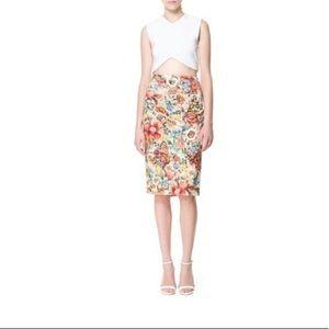 Zara Midi Pencil Skirt, Floral Print